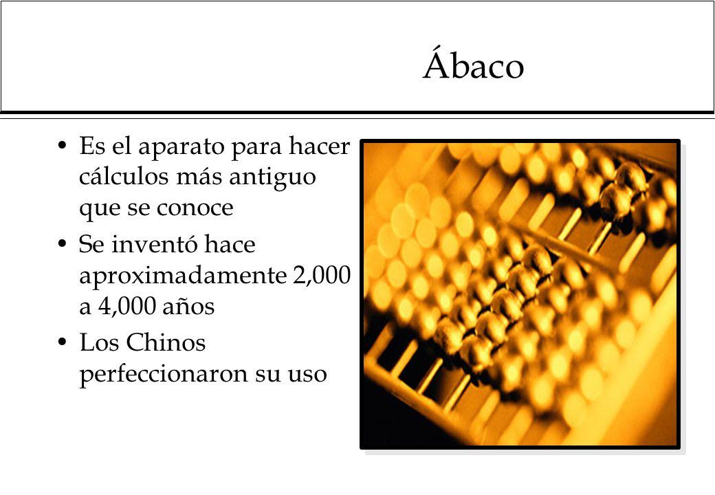 Ábaco Es el aparato para hacer cálculos más antiguo que se conoce Se inventó hace aproximadamente 2,000 a 4,000 años Los Chinos perfeccionaron su uso