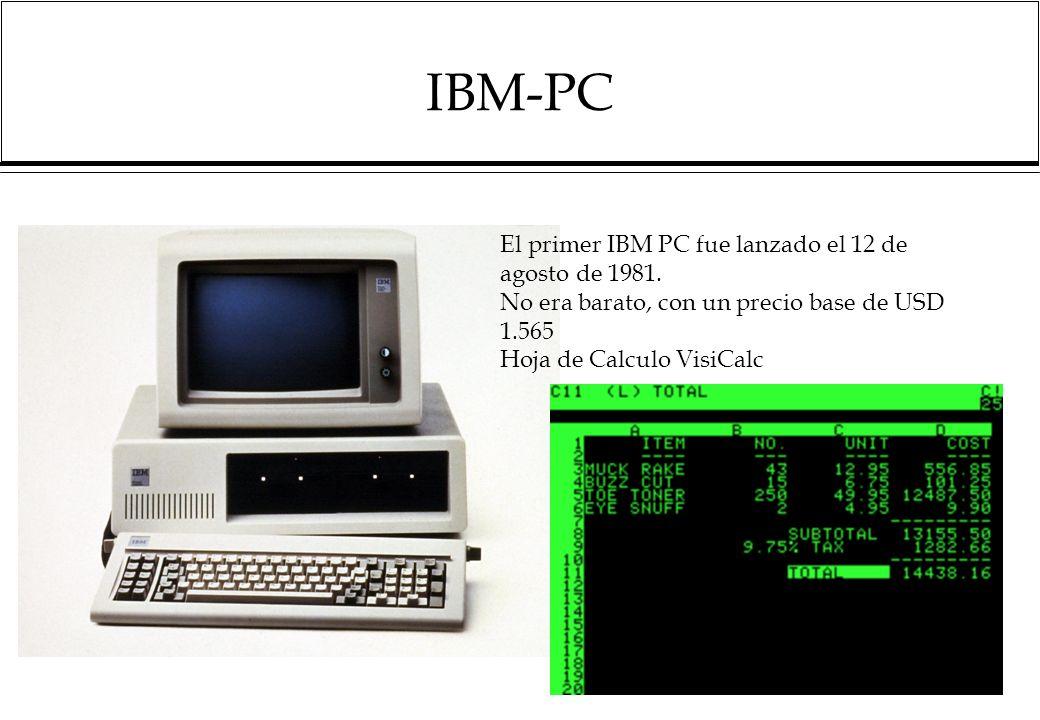 IBM-PC 20 El primer IBM PC fue lanzado el 12 de agosto de 1981.