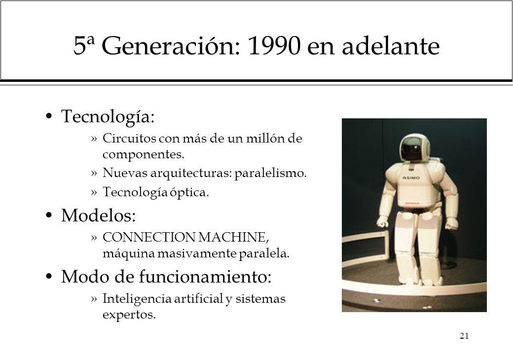 21 5ª Generación: 1990 en adelante Tecnología: »Circuitos con más de un millón de componentes.