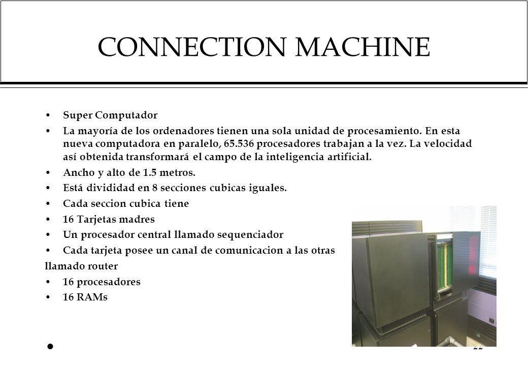 CONNECTION MACHINE Super Computador La mayoría de los ordenadores tienen una sola unidad de procesamiento.