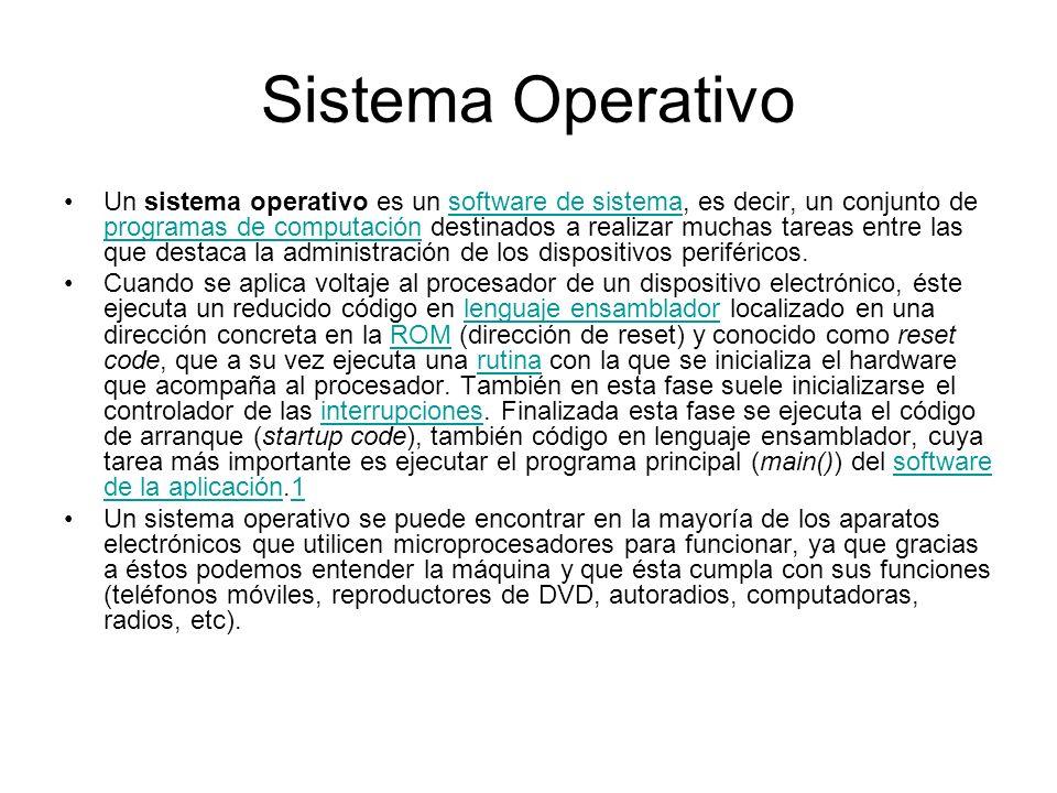 Sistema Operativo Un sistema operativo es un software de sistema, es decir, un conjunto de programas de computación destinados a realizar muchas tarea