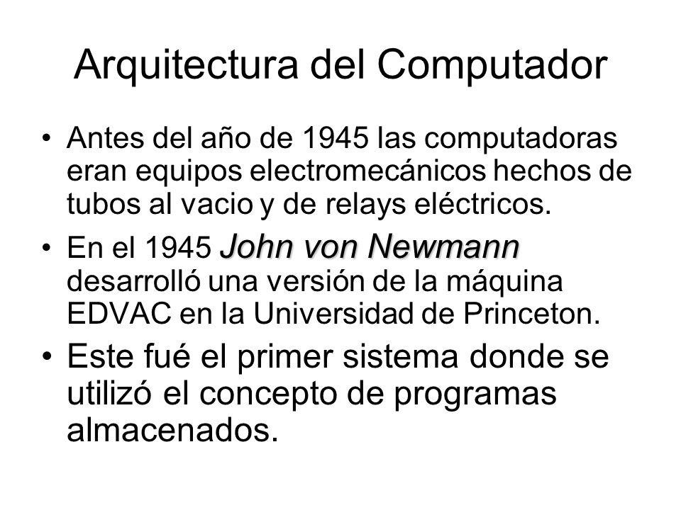 Arquitectura del Computador Antes del año de 1945 las computadoras eran equipos electromecánicos hechos de tubos al vacio y de relays eléctricos. John