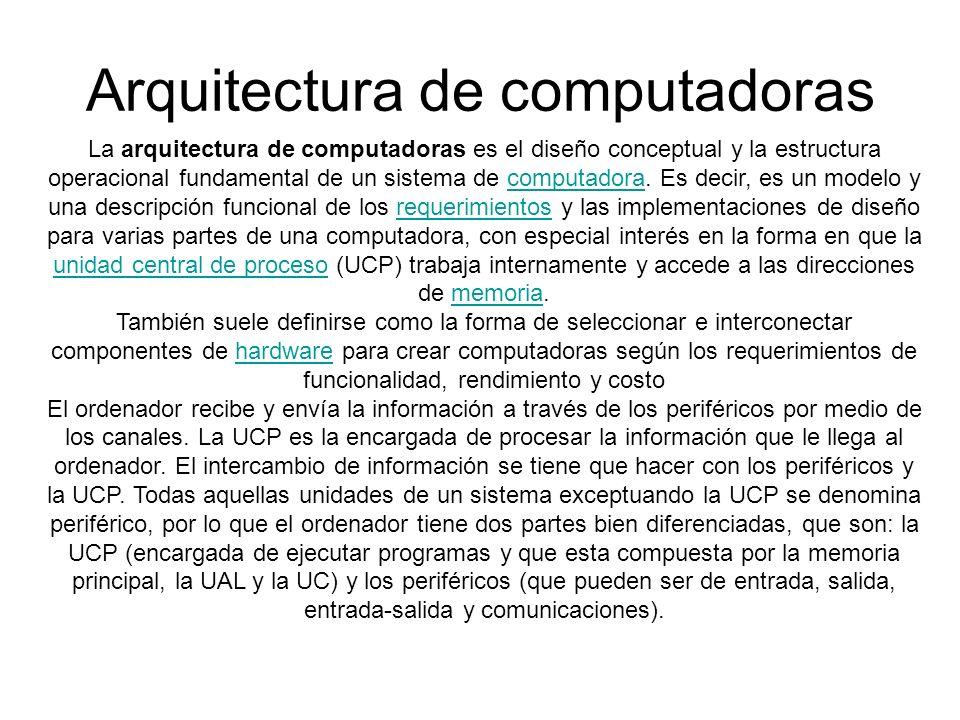 Arquitectura de computadoras La arquitectura de computadoras es el diseño conceptual y la estructura operacional fundamental de un sistema de computad