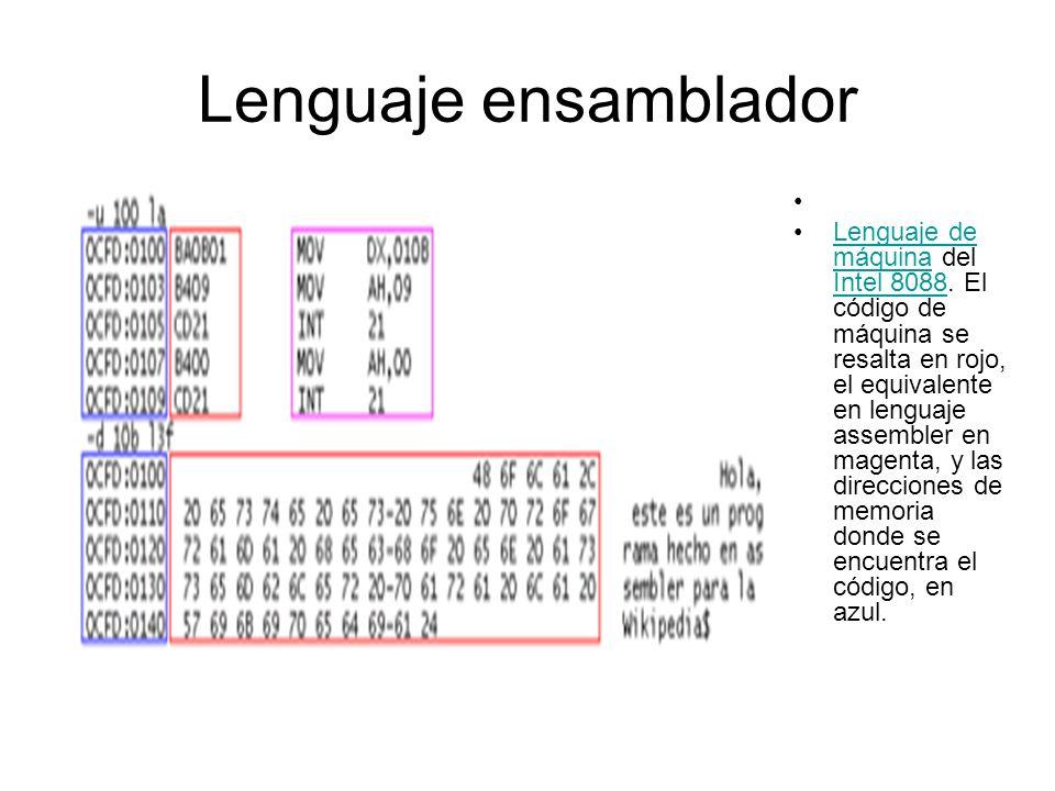 Lenguaje ensamblador Lenguaje de máquina del Intel 8088. El código de máquina se resalta en rojo, el equivalente en lenguaje assembler en magenta, y l