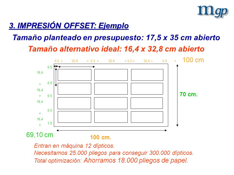 Tamaño alternativo ideal: 16,4 x 32,8 cm abierto Entran en máquina 12 dípticos. Necesitamos 25.000 pliegos para conseguir 300.000 dípticos. Total opti