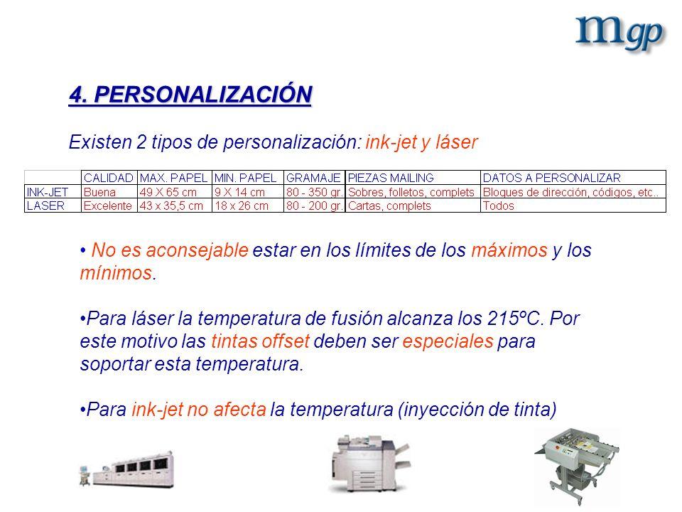 4. PERSONALIZACIÓN Existen 2 tipos de personalización: ink-jet y láser No es aconsejable estar en los límites de los máximos y los mínimos. Para láser