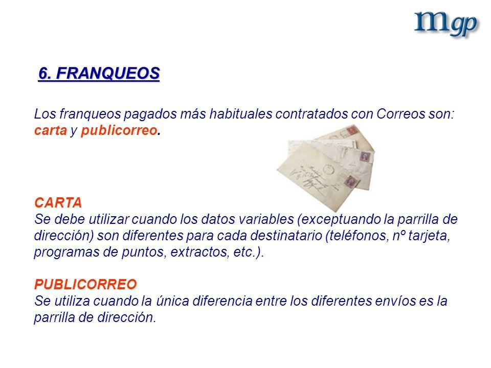 Los franqueos pagados más habituales contratados con Correos son: carta y publicorreo. CARTA Se debe utilizar cuando los datos variables (exceptuando