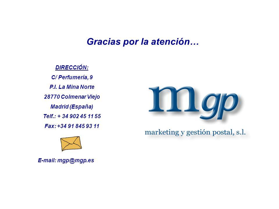 DIRECCIÓN: C/ Perfumería, 9 P.I. La Mina Norte 28770 Colmenar Viejo Madrid (España) Telf.: + 34 902 45 11 55 Fax: +34 91 845 93 11 Gracias por la aten