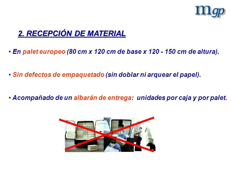 2. RECEPCIÓN DE MATERIAL En palet europeo (80 cm x 120 cm de base x 120 - 150 cm de altura). Sin defectos de empaquetado (sin doblar ni arquear el pap