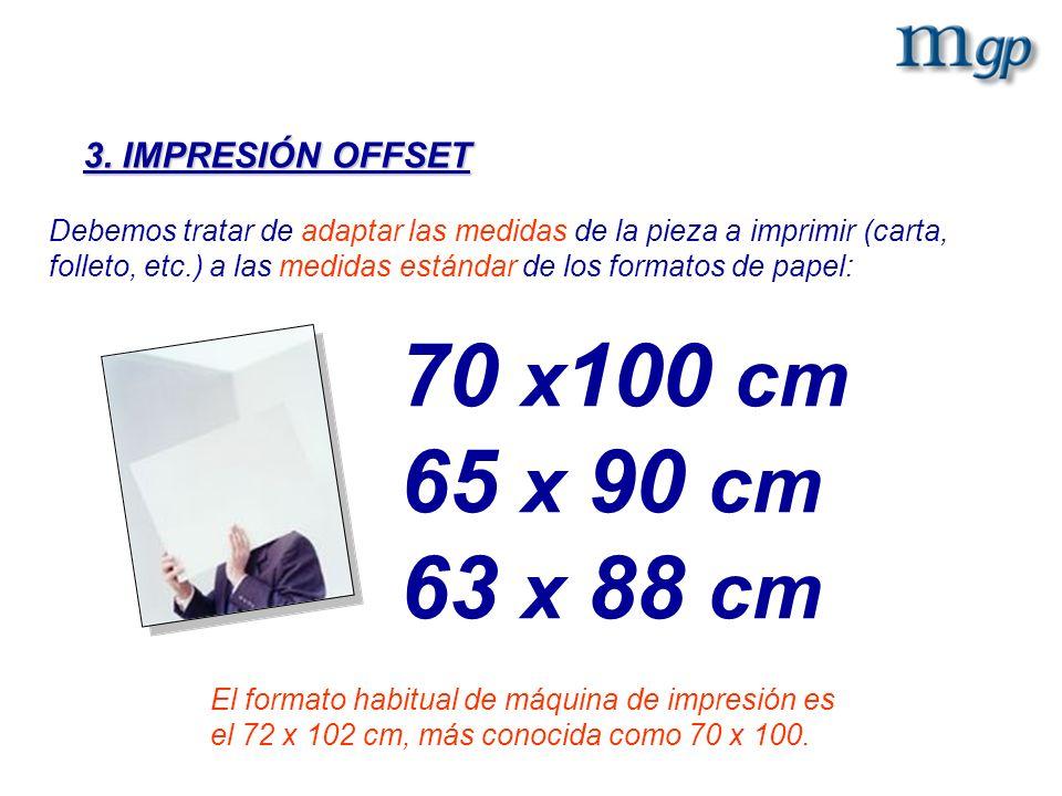3. IMPRESIÓN OFFSET Debemos tratar de adaptar las medidas de la pieza a imprimir (carta, folleto, etc.) a las medidas estándar de los formatos de pape
