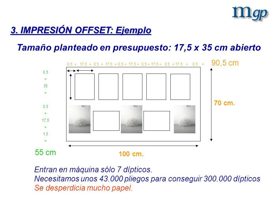 Tamaño planteado en presupuesto: 17,5 x 35 cm abierto Entran en máquina sólo 7 dípticos. Necesitamos unos 43.000 pliegos para conseguir 300.000 díptic