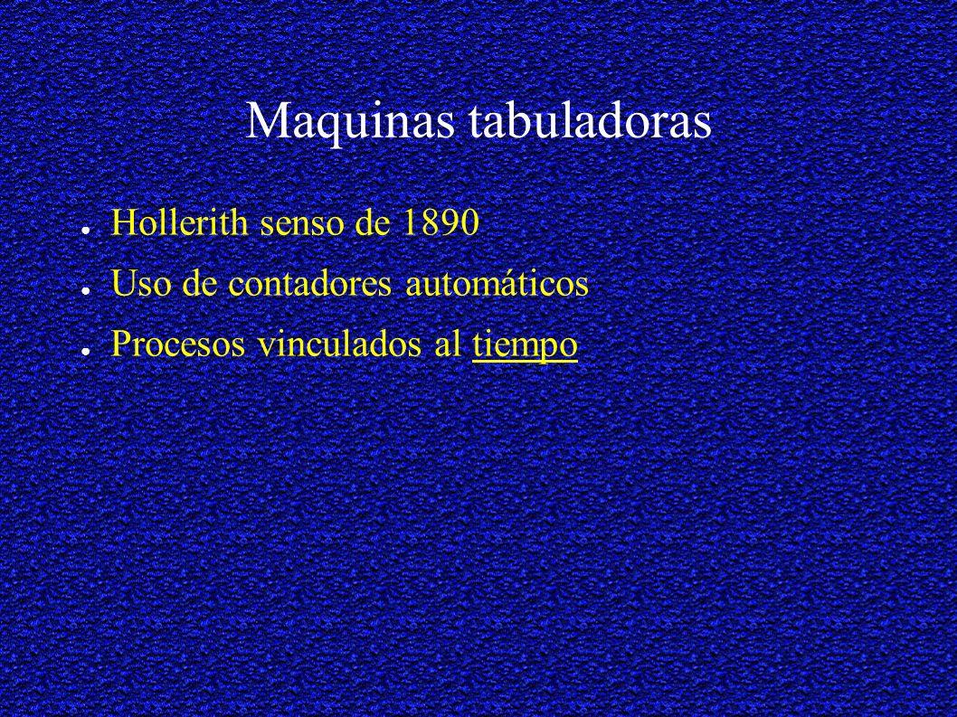 Maquinas tabuladoras Hollerith senso de 1890 Uso de contadores automáticos Procesos vinculados al tiempo