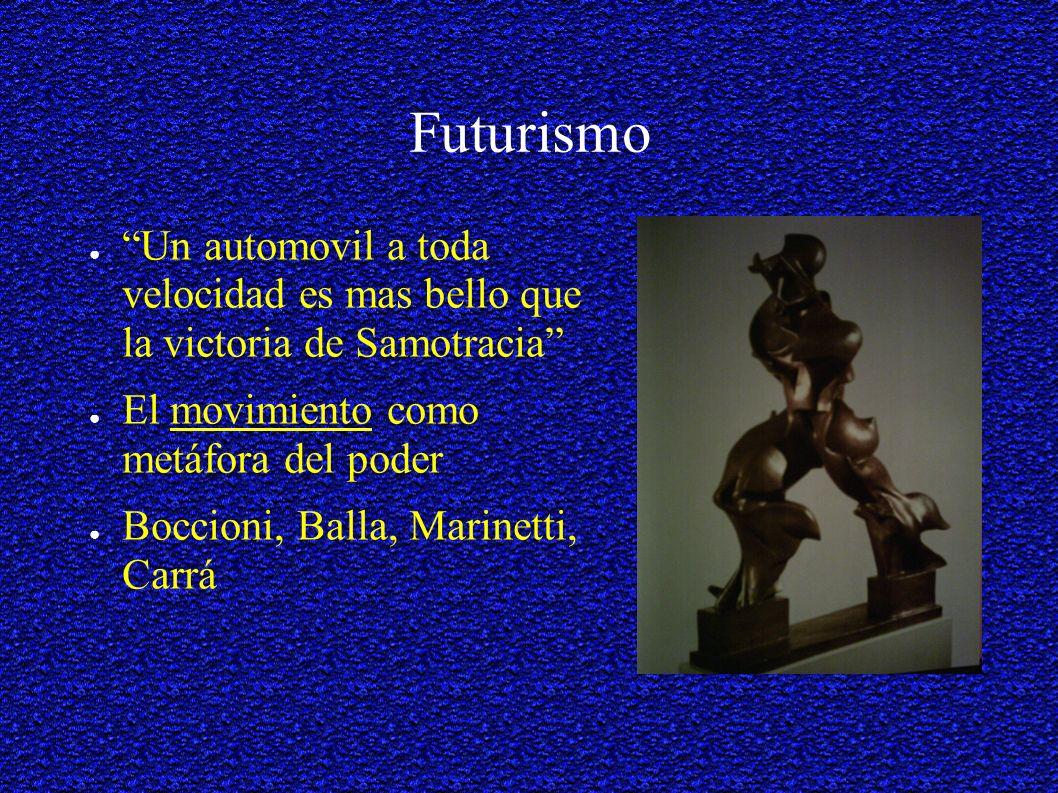 Futurismo Un automovil a toda velocidad es mas bello que la victoria de Samotracia El movimiento como metáfora del poder Boccioni, Balla, Marinetti, Carrá