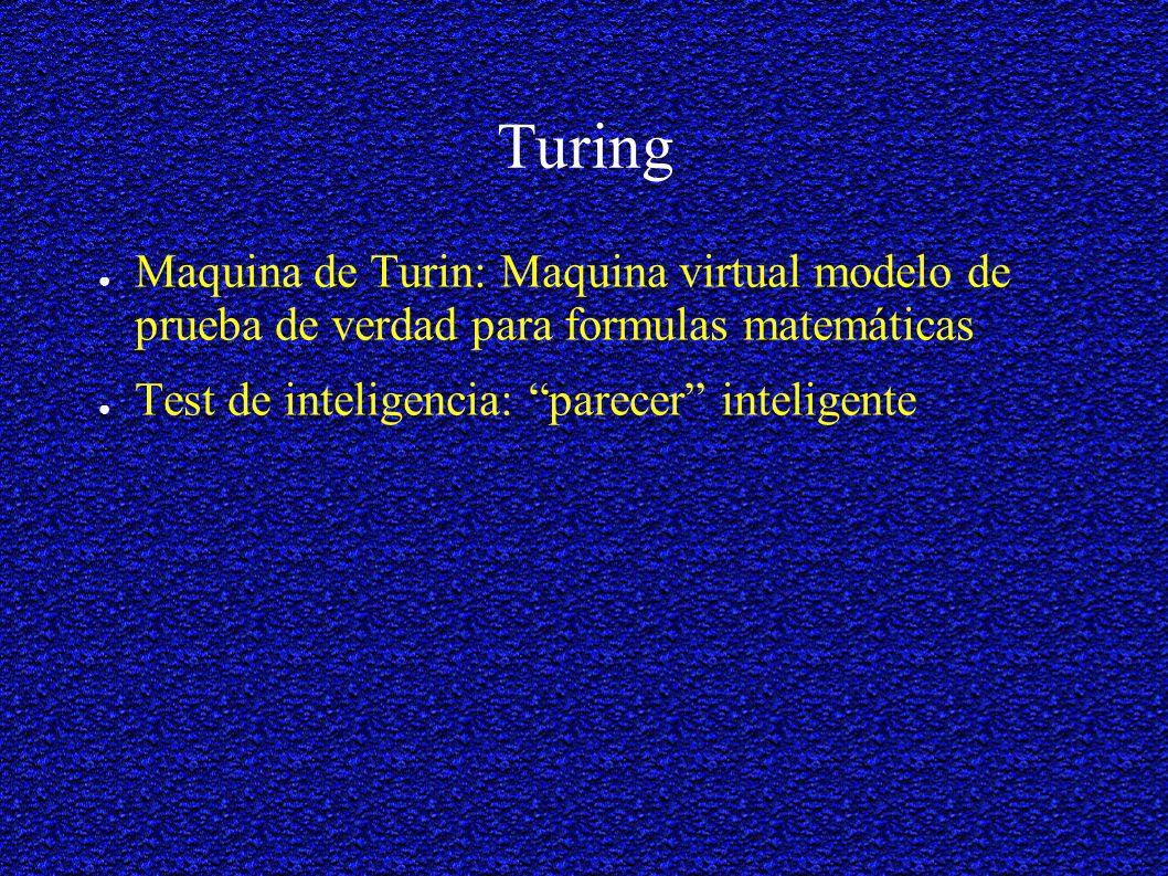 Turing Maquina de Turin: Maquina virtual modelo de prueba de verdad para formulas matemáticas Test de inteligencia: parecer inteligente