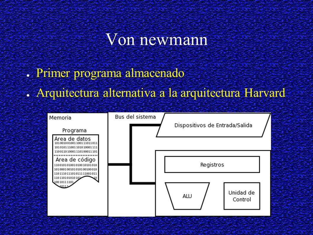 Von newmann Primer programa almacenado Arquitectura alternativa a la arquitectura Harvard