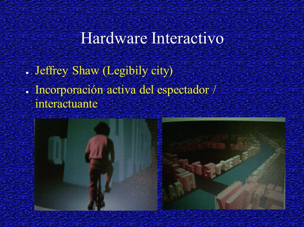 Hardware Interactivo Jeffrey Shaw (Legibily city) Incorporación activa del espectador / interactuante