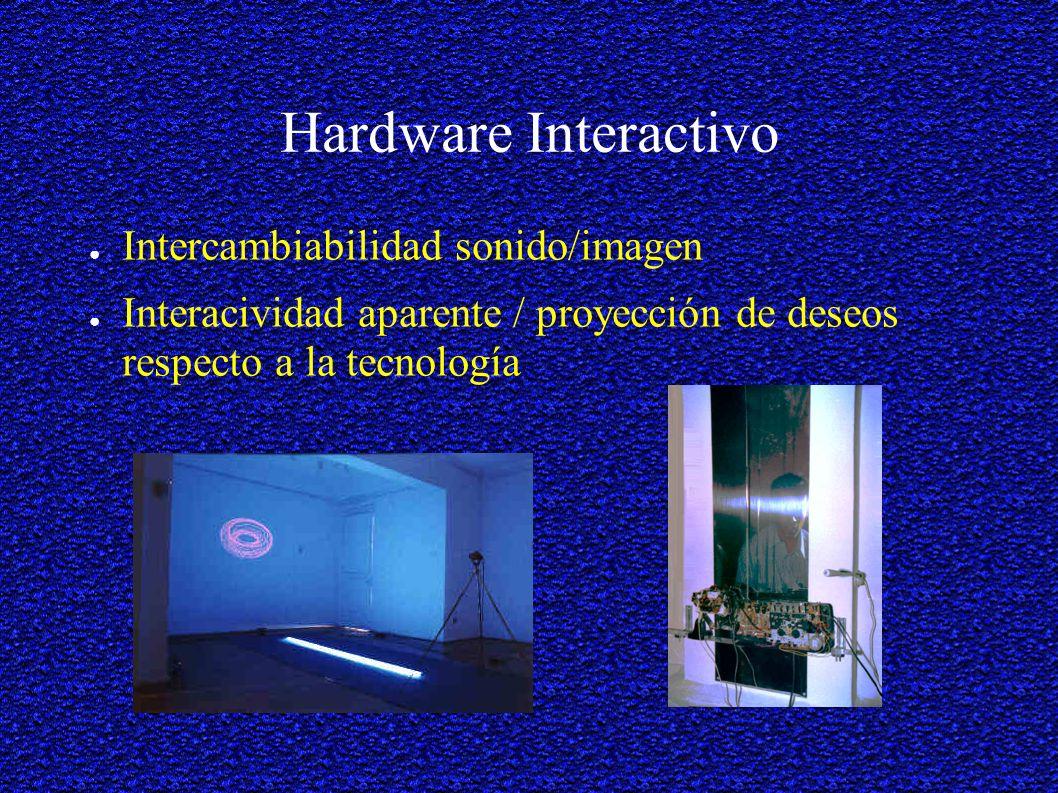Hardware Interactivo Intercambiabilidad sonido/imagen Interacividad aparente / proyección de deseos respecto a la tecnología