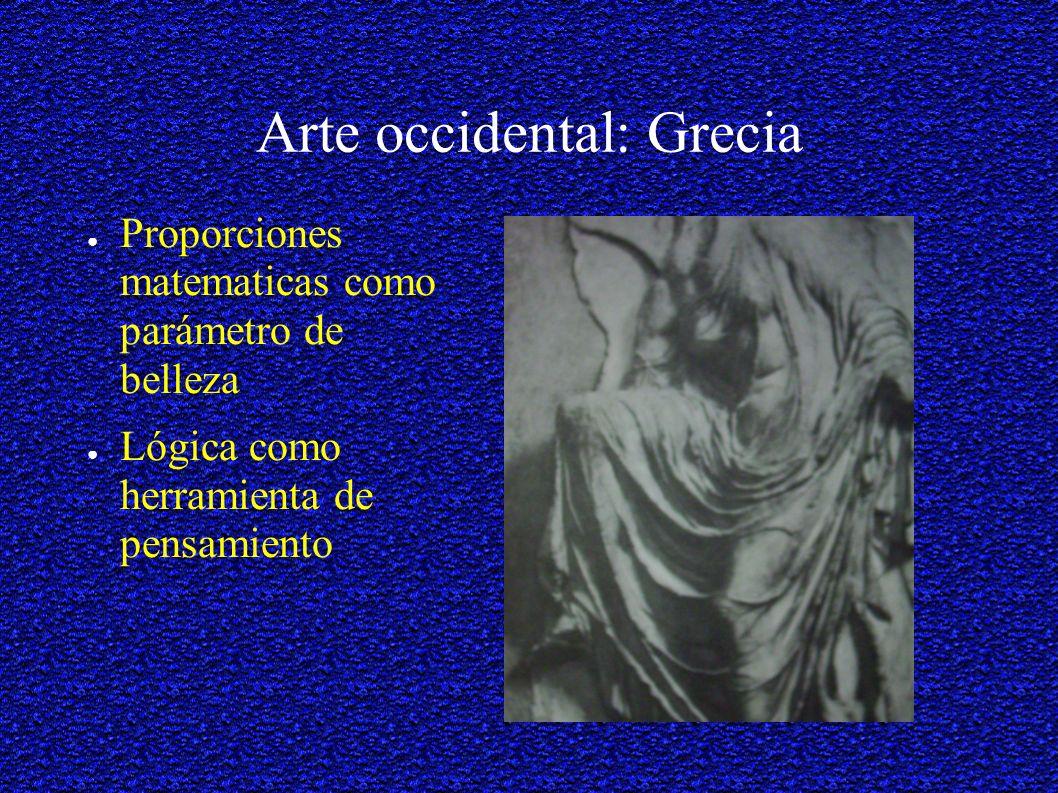 Arte occidental: Grecia Proporciones matematicas como parámetro de belleza Lógica como herramienta de pensamiento