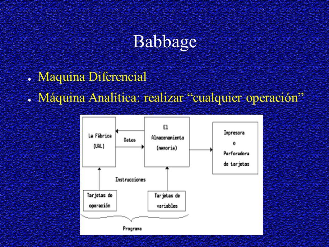 Babbage Maquina Diferencial Máquina Analítica: realizar cualquier operación