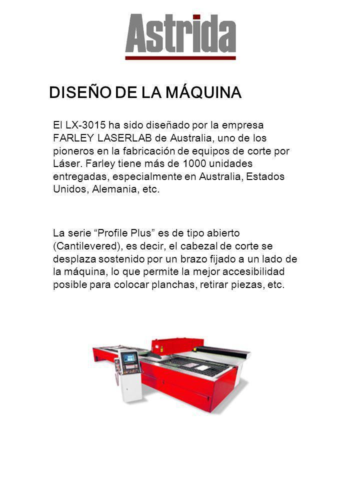 DISEÑO DE LA MÁQUINA El LX-3015 ha sido diseñado por la empresa FARLEY LASERLAB de Australia, uno de los pioneros en la fabricación de equipos de cort