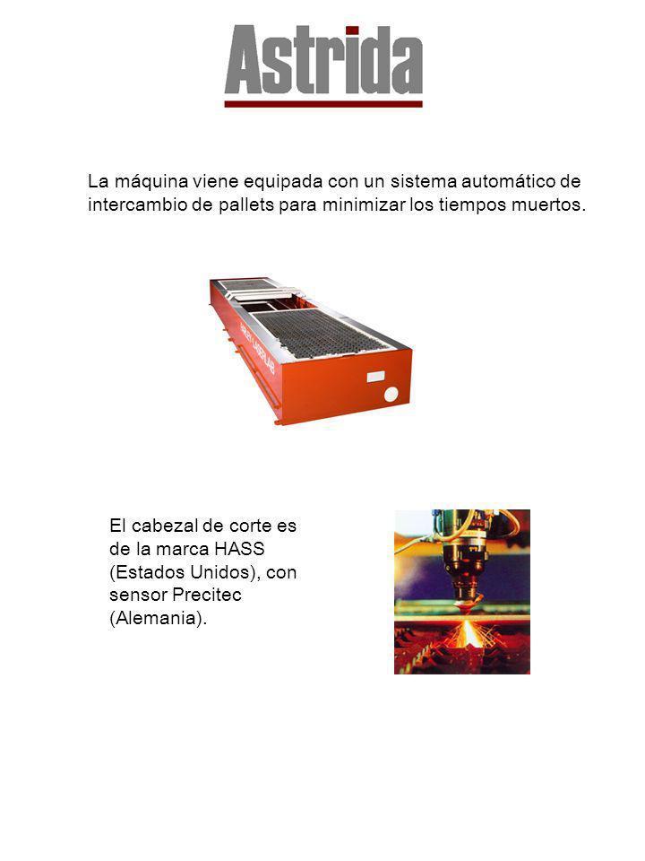 La máquina viene equipada con un sistema automático de intercambio de pallets para minimizar los tiempos muertos. El cabezal de corte es de la marca H
