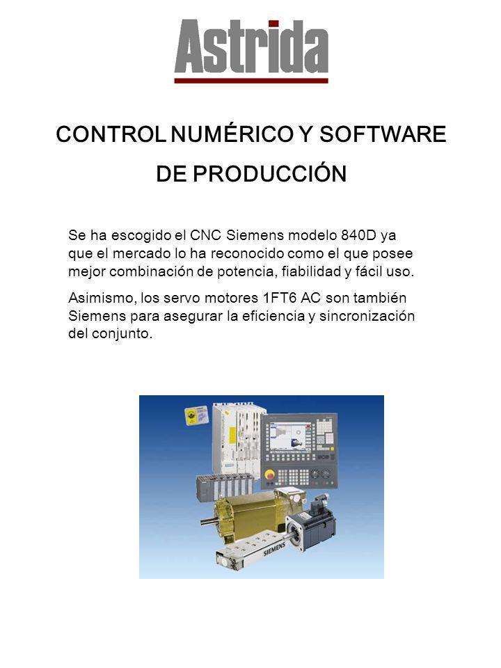 CONTROL NUMÉRICO Y SOFTWARE DE PRODUCCIÓN Se ha escogido el CNC Siemens modelo 840D ya que el mercado lo ha reconocido como el que posee mejor combina
