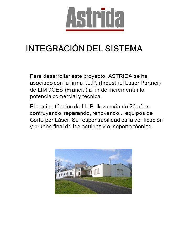INTEGRACIÓN DEL SISTEMA Para desarrollar este proyecto, ASTRIDA se ha asociado con la firma I.L.P. (Industrial Laser Partner) de LIMOGES (Francia) a f