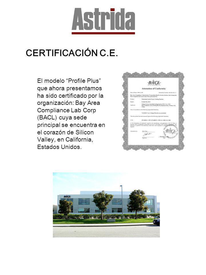 CERTIFICACIÓN C.E. El modelo Profile Plus que ahora presentamos ha sido certificado por la organización: Bay Area Compliance Lab Corp (BACL) cuya sede