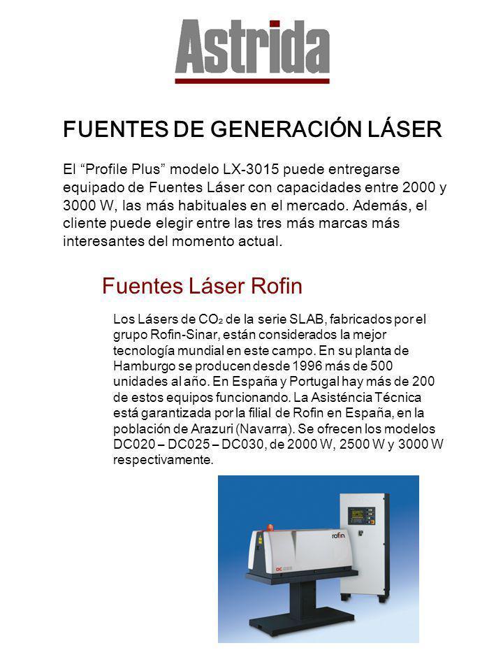 FUENTES DE GENERACIÓN LÁSER El Profile Plus modelo LX-3015 puede entregarse equipado de Fuentes Láser con capacidades entre 2000 y 3000 W, las más hab