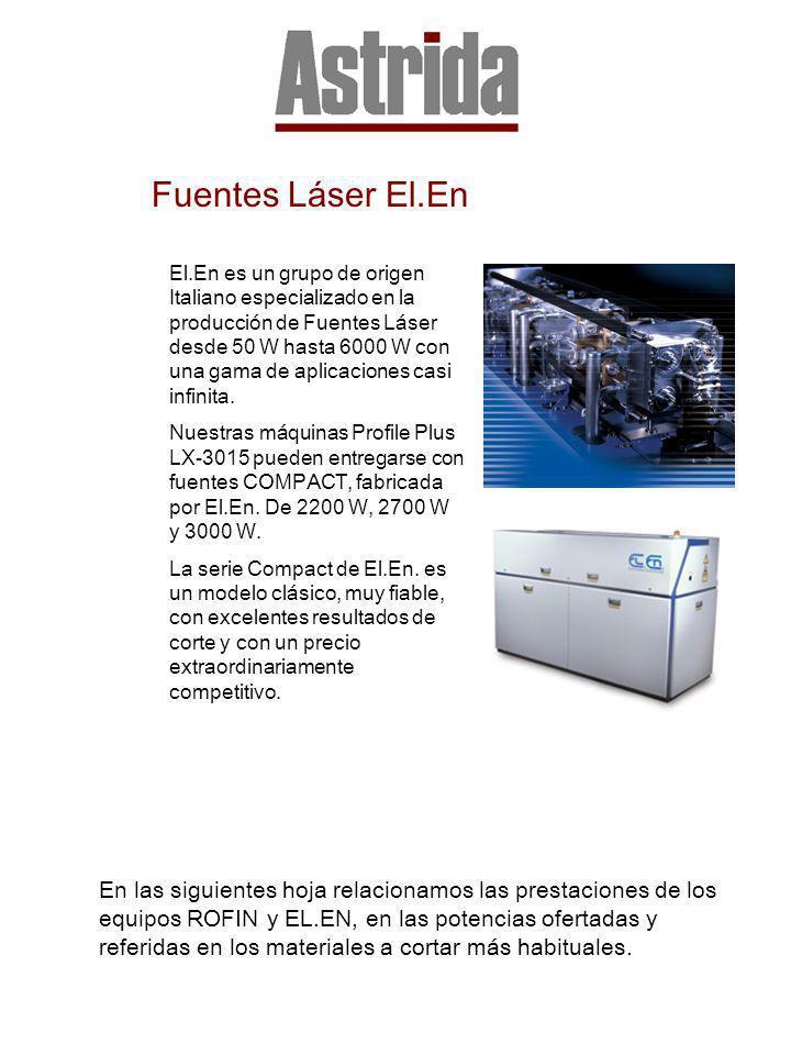 Fuentes Láser El.En El.En es un grupo de origen Italiano especializado en la producción de Fuentes Láser desde 50 W hasta 6000 W con una gama de aplic