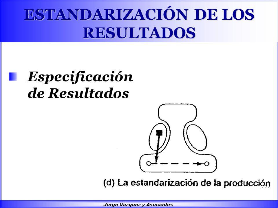 Jorge Vázquez y Asociados ESTANDARIZACIÓN DE LOS RESULTADOS Especificación de Resultados
