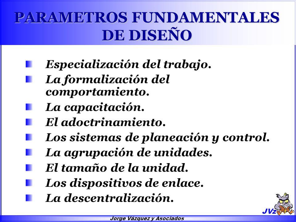 Jorge Vázquez y Asociados PARAMETROS FUNDAMENTALES DE DISEÑO Especialización del trabajo. La formalización del comportamiento. La capacitación. El ado