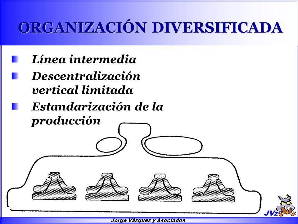 Jorge Vázquez y Asociados ORGANIZACIÓN DIVERSIFICADA Línea intermedia Descentralización vertical limitada Estandarización de la producción