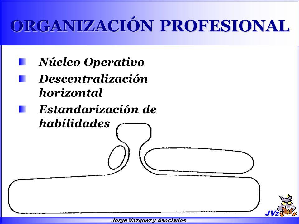 Jorge Vázquez y Asociados ORGANIZACIÓN PROFESIONAL Núcleo Operativo Descentralización horizontal Estandarización de habilidades