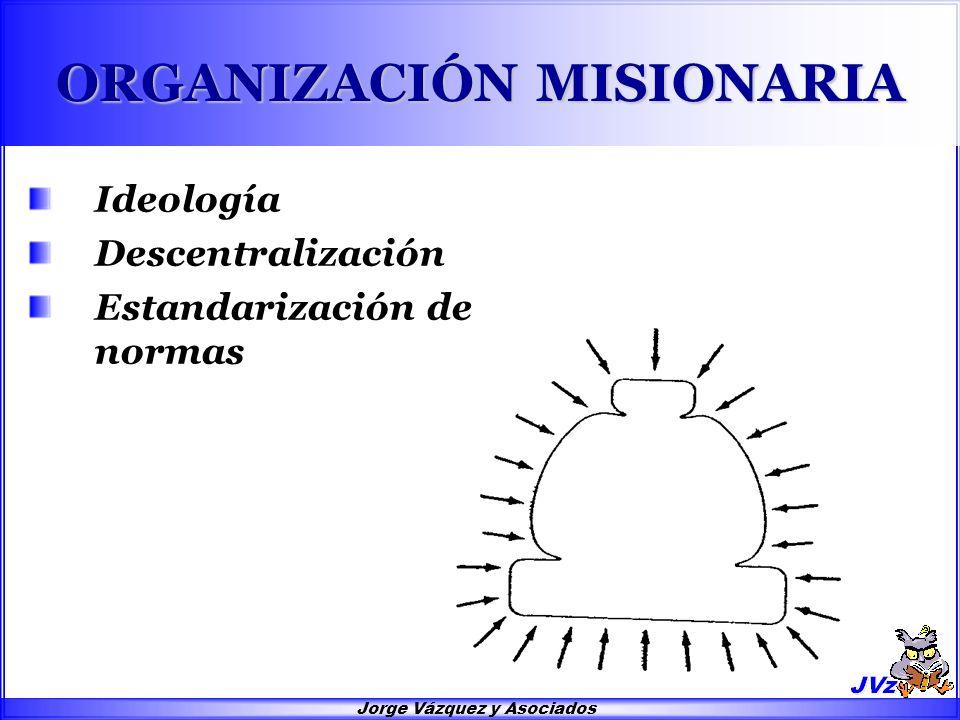 Jorge Vázquez y Asociados ORGANIZACIÓN MISIONARIA Ideología Descentralización Estandarización de normas