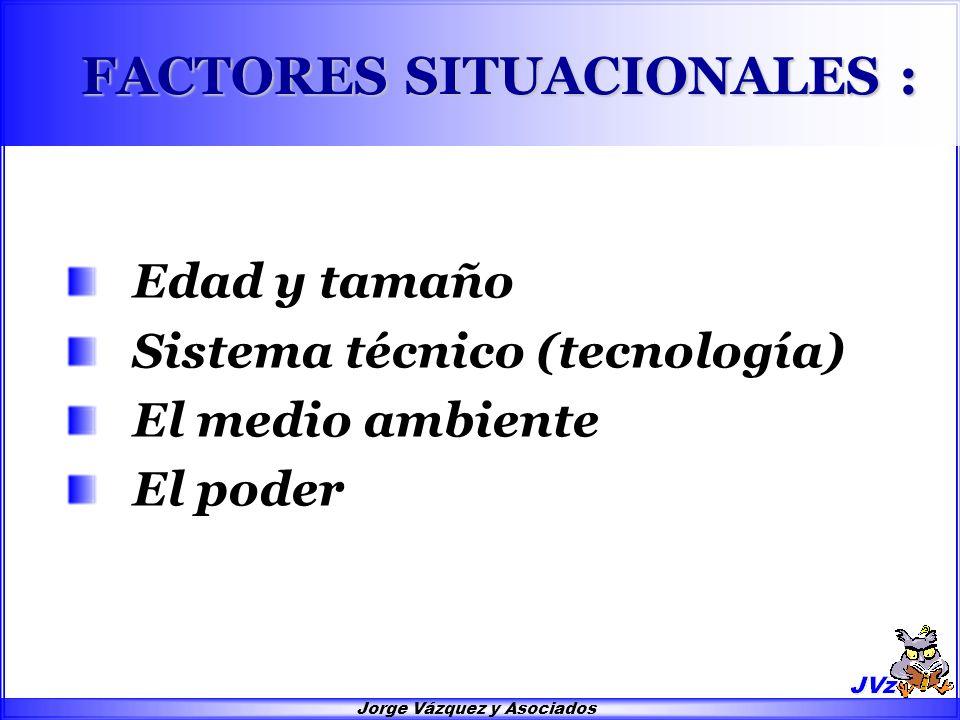 Jorge Vázquez y Asociados FACTORES SITUACIONALES : Edad y tamaño Sistema técnico (tecnología) El medio ambiente El poder