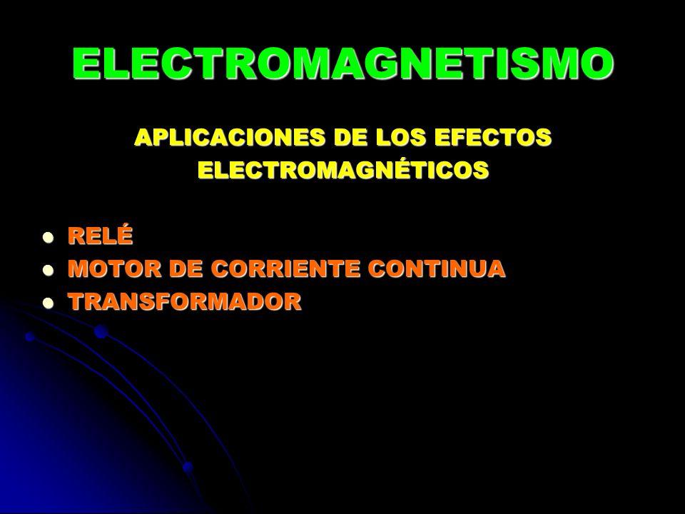 ELECTROMAGNETISMO APLICACIONES DE LOS EFECTOS ELECTROMAGNÉTICOS RELÉ RELÉ MOTOR DE CORRIENTE CONTINUA MOTOR DE CORRIENTE CONTINUA TRANSFORMADOR TRANSF