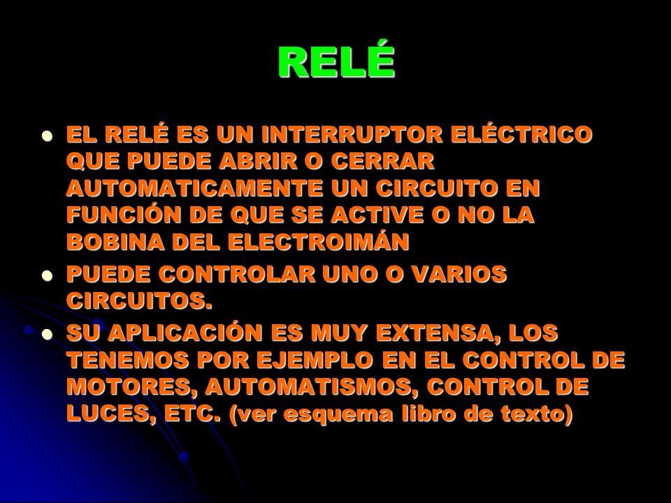 RELÉ EL RELÉ ES UN INTERRUPTOR ELÉCTRICO QUE PUEDE ABRIR O CERRAR AUTOMATICAMENTE UN CIRCUITO EN FUNCIÓN DE QUE SE ACTIVE O NO LA BOBINA DEL ELECTROIM