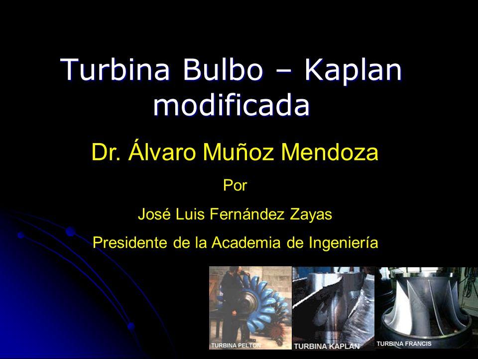 Turbina Bulbo – Kaplan modificada Dr. Álvaro Muñoz Mendoza Por José Luis Fernández Zayas Presidente de la Academia de Ingeniería