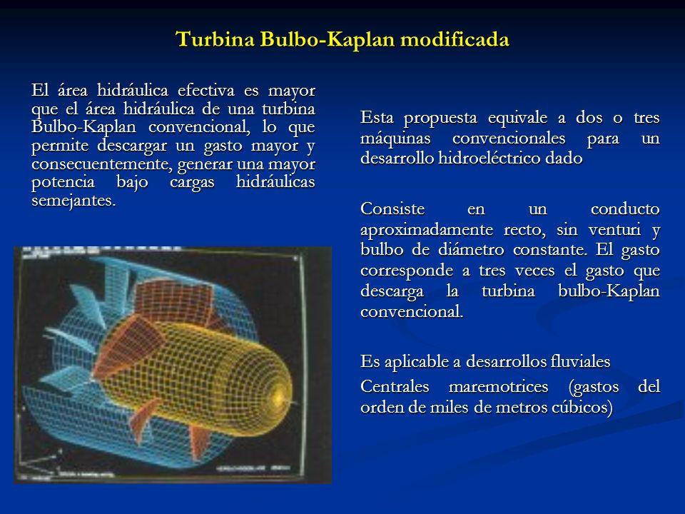 Turbina Bulbo-Kaplan modificada Esta propuesta equivale a dos o tres máquinas convencionales para un desarrollo hidroeléctrico dado Consiste en un con