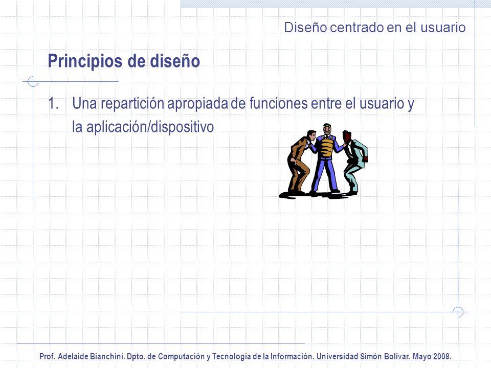 Prof. Adelaide Bianchini. Dpto. de Computación y Tecnología de la Información. Universidad Simón Bolívar. Mayo 2008. Diseño centrado en el usuario Pri