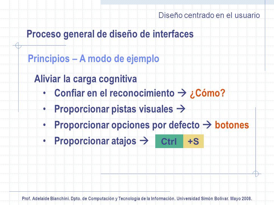 Prof. Adelaide Bianchini. Dpto. de Computación y Tecnología de la Información. Universidad Simón Bolívar. Mayo 2008. Diseño centrado en el usuario Ali