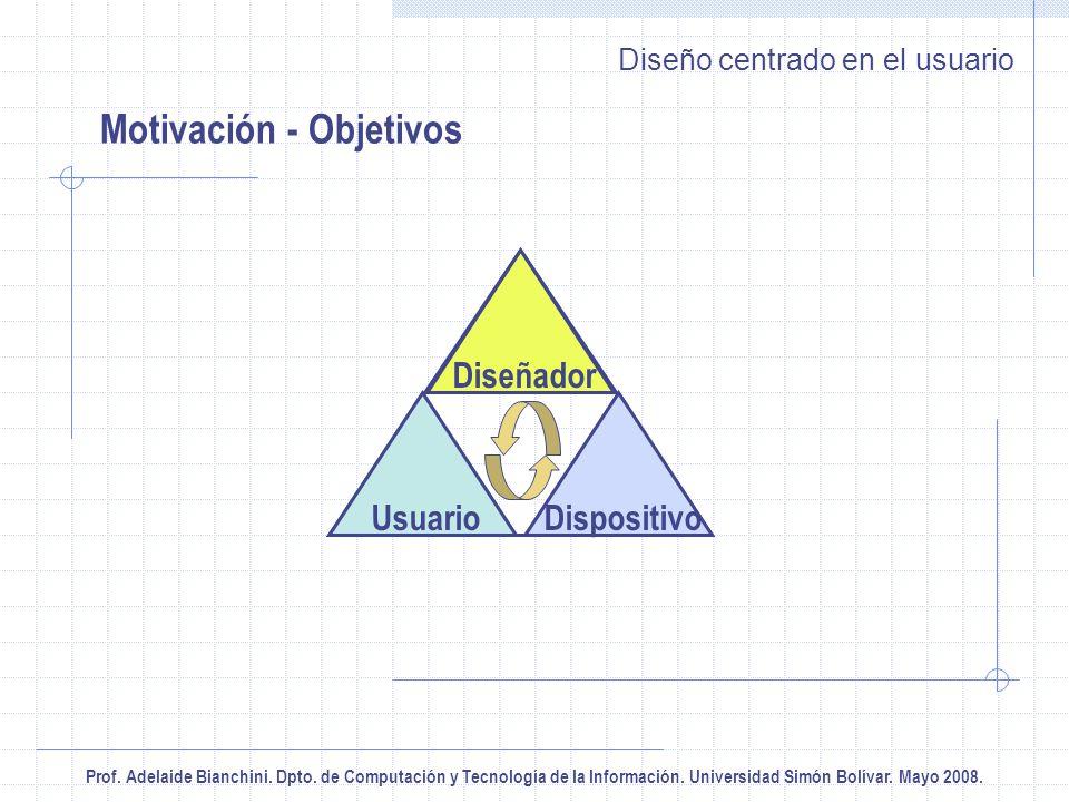 Prof. Adelaide Bianchini. Dpto. de Computación y Tecnología de la Información. Universidad Simón Bolívar. Mayo 2008. Diseño centrado en el usuario Mot