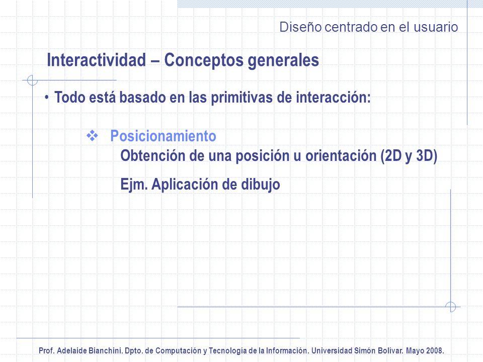 Prof. Adelaide Bianchini. Dpto. de Computación y Tecnología de la Información. Universidad Simón Bolívar. Mayo 2008. Diseño centrado en el usuario Int