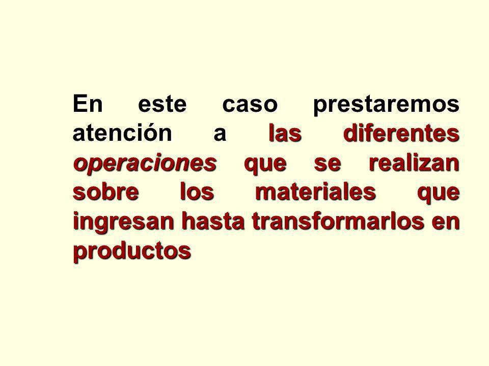 En este caso prestaremos atención a las diferentes operaciones que se realizan sobre los materiales que ingresan hasta transformarlos en productos