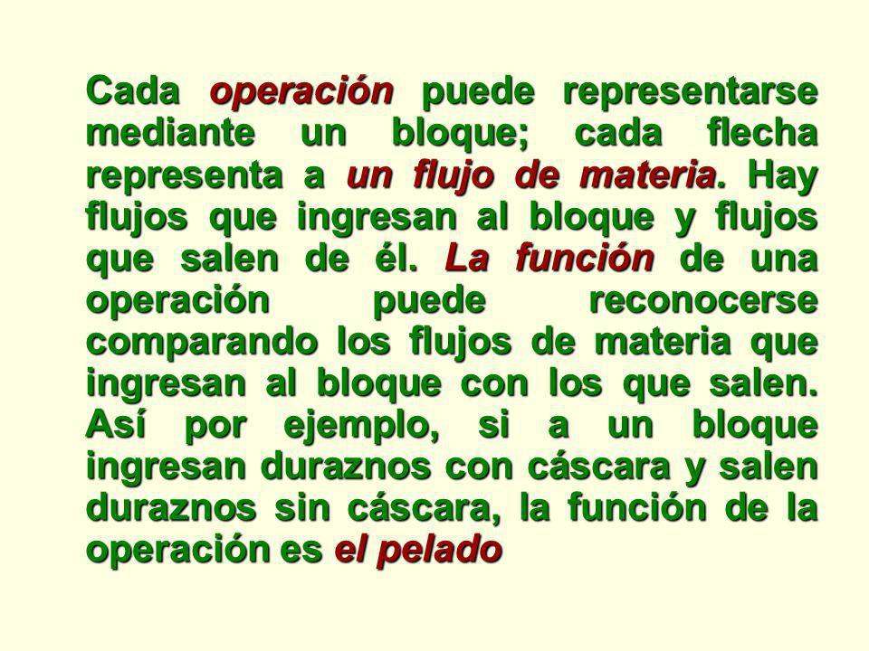 Cada operación puede representarse mediante un bloque; cada flecha representa a un flujo de materia. Hay flujos que ingresan al bloque y flujos que sa