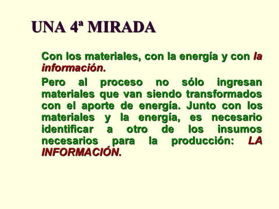 UNA 4ª MIRADA Con los materiales, con la energía y con la información. Pero al proceso no sólo ingresan materiales que van siendo transformados con el