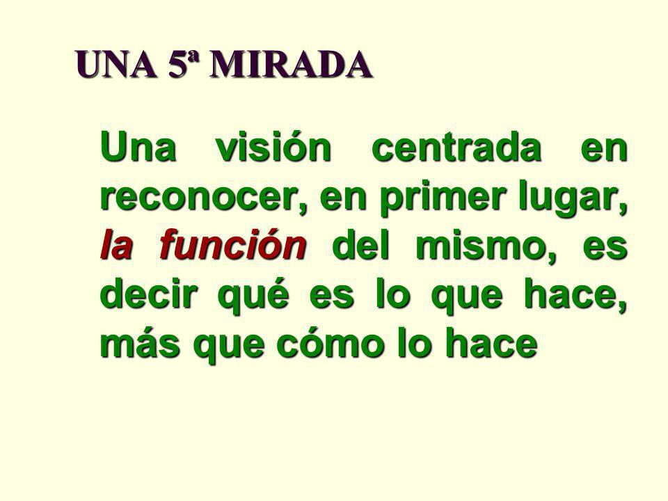 UNA 5ª MIRADA Una visión centrada en reconocer, en primer lugar, la función del mismo, es decir qué es lo que hace, más que cómo lo hace