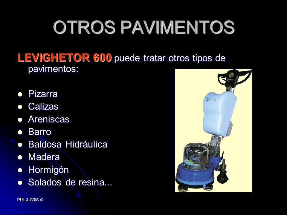 PUL & CRIS ® OTROS PAVIMENTOS LEVIGHETOR 600 puede tratar otros tipos de pavimentos: Pizarra Pizarra Calizas Calizas Areniscas Areniscas Barro Barro B