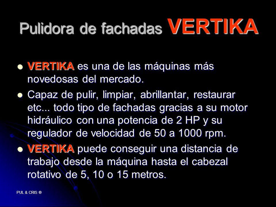 PUL & CRIS ® Pulidora de fachadas VERTIKA VERTIKA es una de las máquinas más novedosas del mercado. VERTIKA es una de las máquinas más novedosas del m
